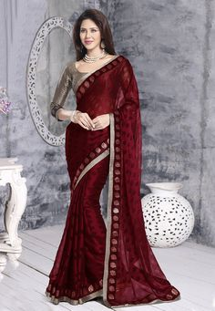 """Buy Maroon Faux Georgette Brasso Saree with Blouse online, work: Brasso, color: Maroon, usage: Festival, category: Sarees, fabric: Georgette, price: <span class=""""Geosymbol"""">`</span>2370.10, item code: SAR755, gender: women, brand: Utsav"""