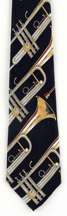 NEW! Lots of Diagonal Gold Trumpets Musical instrument Novelty Necktie  135-K #StevenHarris #NeckTie