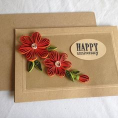 Quilled Greeting Card - Red and Brown , by Craftinsans