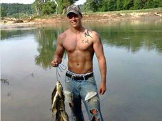 Hot Men in Hats & Caps -- country boy shirtless holding fish in the river version.  Goodness.