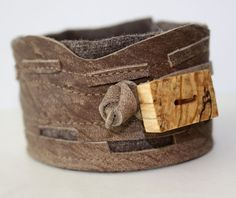 Leather and Wood Cuff Bracelet