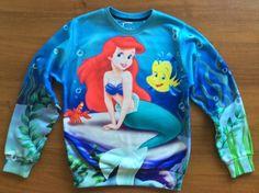 Hot cartoon little mermaid print cute sweatshirts for women girl funny miley cyrus/cat anime sweats 3d casual hoodie plus size