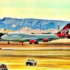 Virgin Atlantic 747 taxiing at McCarran Airport. (at McCarran International Airport)
