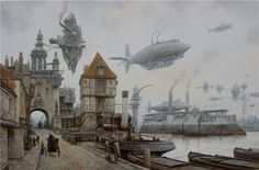 brilliant #steampunk artist: old Harbor by voitv on @deviantART