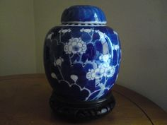 Antique Chinese blue and white porcelain prunus ginger jar and cover perfect !!