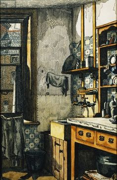 'The Corner of the Kitchen' (pen, black ink and watercolour) by Charles Ginner