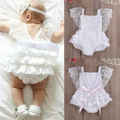 Rompers Infant Baby Girl Clothes Lace Floral Ruffles Tirred Cotton Bow Cute White Baby Girl Romper Cake Sunsuit Outfits 0-18M