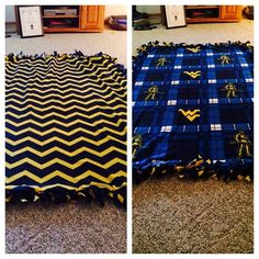 WVU no-sew fleece blanket | Instagram photo by @aalliisshhaa45 (Alisha Carter)