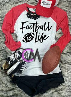 Football Is Life Shirt, Football is life Raglan, Football Mom Shirt, Ladies Football Shirt- Raglan - One Crafty Momma Tackle Football, Football Mom Shirts, Women's Football, Football Is Life, Football Parties, Vinyl Shirts, Comfy Casual, Diy Clothes, Graphic Sweatshirt