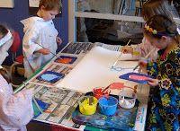 gretchen's art blog: handling paint: put a spoon into each pot of paint. Kid's spoon paint onto plastic lid pallet to mix colors.