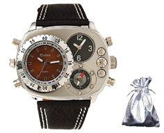 【 オウルム 】 Oulm ミッドセンチュリー トリプル アナログ フェイス コンパス メンズ ミリタリー 腕時計 プレゼント用巾着袋セット cos time-33