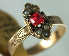 Victorian Era Ruby Seed Pearl Ring 10K Gold - $110.00 - Vintage Items and Unique Gifts by The Perfect Jewel 4U