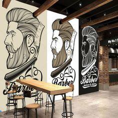 result for barber logos Barber Shop Interior, Barber Shop Decor, Hair Salon Interior, Salon Interior Design, Salon Design, Retro Wallpaper, Wallpaper Decor, Andrea Barber, Best Barber Shop