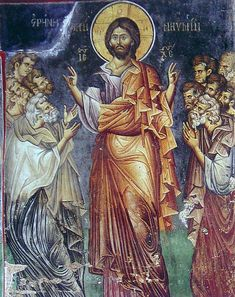 Christ Appearing to his Disciples, Vatopedi Monastery, Mount cent-Holy Mountain, Halkidiki, Macedonia Greece Religious Images, Religious Icons, Religious Art, Byzantine Art, Byzantine Icons, Fresco, Anima Christi, Parable Of The Talents, Life Of Christ