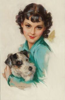 Pin-up and Glamour Art, JULES ERBIT (American, 1889-1968). Young Woman with Her Dog, calendar illustration, circa 1936. Pastel on board. 23 x...