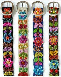 Details about Peruvian Wool Belt with Flower Pattern - Embroidered White Belt - Women& Belt . - Details about Peruvian Wool Belt with Flower Pattern – Embroidered White Belt – Women& Be - Beaded Embroidery, Embroidery Stitches, Embroidery Patterns, Hand Embroidery, Mexican Embroidery, Stitching Patterns, Hungarian Embroidery, Vintage Embroidery, Bordado Floral