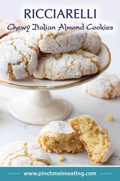 Ricciarelli are dense, chewy Italian almond cookies originating in Siena. They are a distant, and much less fussy, Italian cousin to the French macaron — perfect with tea or coffee! Italian Almond Biscuits, Italian Almond Cookies, Almond Meal Cookies, Italian Cookie Recipes, Italian Desserts, Bar Cookie Recipes, Baking Recipes, Easy Recipes, Coffee Cookies