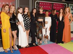 Taylor Swift brought members of her 'Bad Blood' squad, including Selena Gomez, Cara Delevingne and Gigi Hadid to the MTV VMAs. Photos here. Taylor Swift Vma, Taylor Swift Squad, Taylor Swift Height, Mtv Video Music Award, Music Awards, Lily Aldridge, Hailee Steinfeld, Mariska Hargitay, Cara Delevingne
