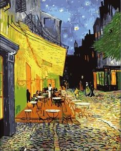 Modern home hand painted diy number painting by kits no frame laminas de cuadros de pared Night coffee shop by Vincent van Gogh
