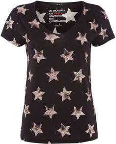 Oui Cotton star print t-shirt