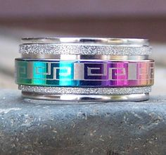 Geometric Stainless Steel Spinner Ring
