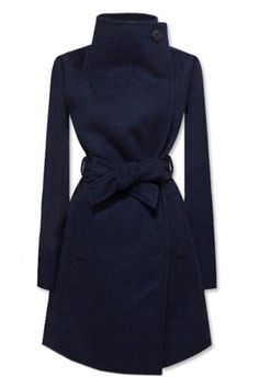 Romwe New Style  Lapel Dark Blue Coat