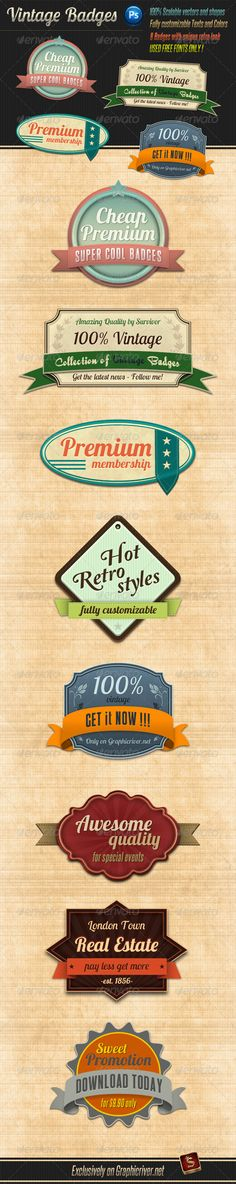 Web Elements - Retro Vintage Badges | GraphicRiver
