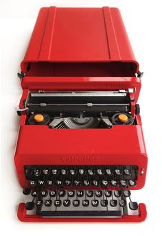 Ettorre Sottsas bright red Valentine Typewriter. The portable typewriter was first manufactured in 1968 for Olivetti. Sottsas imagined a fun, brightly coloured device that could be taken anywhere, particularly to 'keep poets company on lonely weekends in the country.' It would have been a must have item at the time, and I can certainly see why. //  Vintage Olivetti Valentine S Typewriter