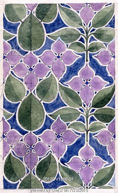 Design for floral textile or wallpaper, by C.F.A.Voysey (1857-1941). Watercolour. England, 1918 | VA Musem, London