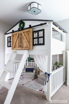 How To Build A DIY Sliding Barn Door Loft Bed Full Size Adorable kids room with amazing loft bed with sliding barn doors! The post How To Build A DIY Sliding Barn Door Loft Bed Full Size appeared first on Welcome! Diy Sliding Barn Door, Barn Doors, Diy Door, Attic Doors, Wood Doors, Sliding Doors, Girl Bedroom Designs, Kids Room Design, Awesome Bedrooms