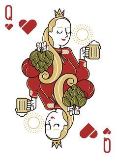 Playing Cards Art, Playing Card Design, Queen Of Hearts Card, Game Card Design, Deck Of Cards, Card Deck, Tatoo Art, Emblem, Arte Pop