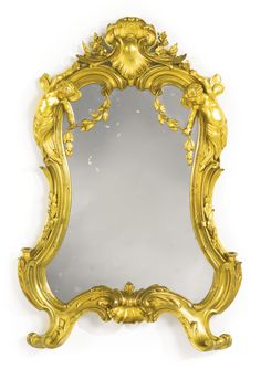 ♔ A FINELY CAST LOUIS XV STYLE GILT-BRONZE WALL MIRROR AFTER JUSTE-AURELE MEISSONNIER PARIS, LAST QUARTER 19TH CENTURY https://www.pinterest.com/moonshooter1