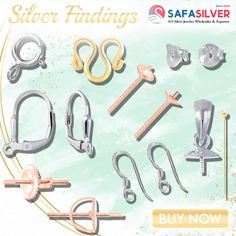Safasilver - Wholesale Silver jewelry Find premium-quality bulk wholesale silver findings at wholesale price from Safasilver.com. You can find unique jewelry findings and silver jewelry spares here. #silver #earrings #findings #bail #pin #hook #pendant #stud #back #gold #silver #rosegold #plated #design #handmade #fashion #likeforfollow #bhfyp #jewelrydesigner #jewelryaddict #style #follow Wholesale Silver Jewelry, Jewelry Design, Unique Jewelry, Jewelry Findings, Silver Earrings, Plating, Rose Gold, Pendant, Handmade
