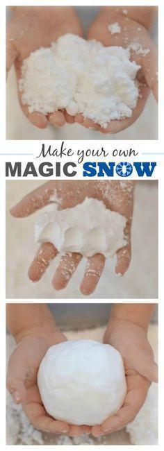 2-INGREDIENT MAGIC SNOW- SO COOL! A must try for kids! #snowplayrecipe #kidswintercrafts