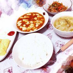 mari__320冷蔵庫掃除の日 #おうちごはん #麻婆豆腐 #しらたきピリ辛炒め #生姜スープ #卵焼き #お手伝いありがとう