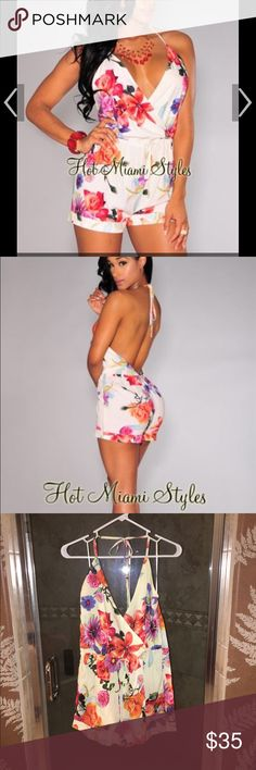 Floral HMS Romper Cute floral Hot Miami Styles romper size medium. Never worn comes from smoke free home Hot Miami Styles Other