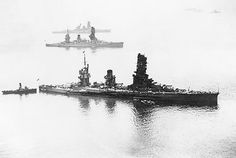 Fusō (middle), with Yamashiro (foreground) and Haruna (more distant), Tokyo Bay, 1930s. She was sunk in the early hours of 25 Oct 1944 by torpedoes and naval gunfire during the Battle of Surigao Strait. Some reports claimed that Fusō broke in half, and that both halves remained afloat and burning for an hour, but according to survivors' accounts, the ship sank after 40 minutes of flooding.  Only 10 crew members of the estimated 1,636 officers and crew on board survived.