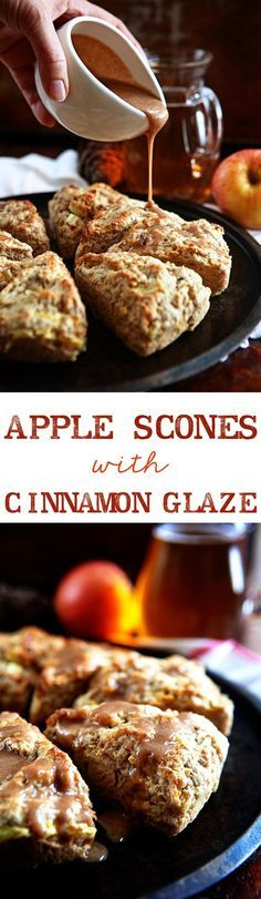Tender, delicious Apple Scones recipe with an Apple Cider Cinnamon Glaze. Sweet apples, and the flavor of cider and cinnamon, these are the best scones! Apple Scones, Cinnamon Scones, Apple Cinnamon, Ground Cinnamon, Cinnamon Glaze Recipe, Cinnamon Syrup, Savory Scones, Pumpkin Scones, Breakfast Recipes