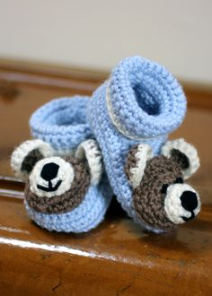 Crochet Teddy Bear Baby Booties