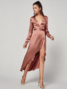 Keep your expectations as low as your neckline This is a midi length, wrap dress with a low v neckline and long sleeves. Satin Dresses, Lace Dress, Dress Up, Gowns, Long Sleeve Silk Dress, Pink Silk Dress, Boho Fashion, Fashion Outfits, Autumn Fashion