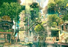 ✮ ANIME ART ✮ anime scenery. . .city. . .cityscape. . .buildings. . .architecture. . .street signs. . .trees. . .water. . .river. . .amazing detail. . .fantasy world. . .kawaii