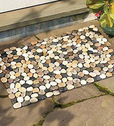 Indoor/Outdoor River Rock Floor Mat, 19-1/2''H x 30''W Wi...