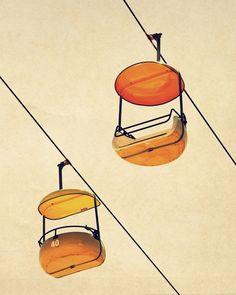 Mid century modern art carnival photo orange by SeptemberWren on etsy
