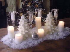 Decoration, Captivating White Christmas Centerpieces Design Ideas With Candles And Miniature Christmas Tree: Gorgeous Christmas Centerpieces Blueprint For Your Table Elegant Christmas Centerpieces, Christmas Wedding Decorations, Winter Wedding Centerpieces, Modern Christmas Decor, Candle Centerpieces, Silver Christmas, Christmas Candles, Simple Christmas, Christmas Diy