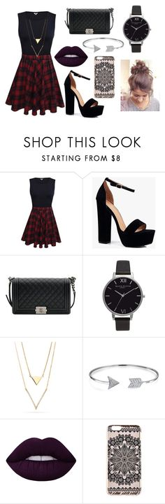 """"""""""" by louraraujo13 ❤ liked on Polyvore featuring Boohoo, Chanel, Olivia Burton, Bling Jewelry, Lime Crime and New Look"""