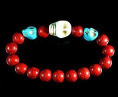 Lovely Turquoise Stone White Baby Blue Skull Red Ball Beads Stretchy Bracelet s, $$4.50