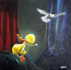 En fugl i hånden ..., 60x60, acryl på lærred  A bird in the hand ..., 60x60, acrylics on canvas  2012 © Svend Høgh  Please respect my copyright.