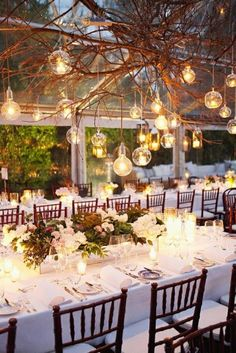 Floating lights above the #reception tables...so romantic! www.CharmingGraceEvents.com