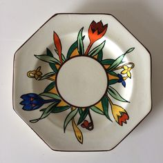 T.G.Green 'Crocus Ware' Plate. An unusual octagonal shaped plate.