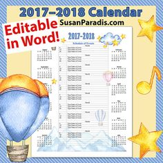 2017 Calendar - Personalize in Word! - Susan Paradis Piano Teaching ResourcesSusan Paradis Piano Teaching Resources